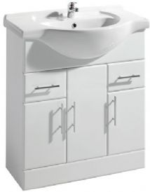 High Gloss White 750mm Basin Unit